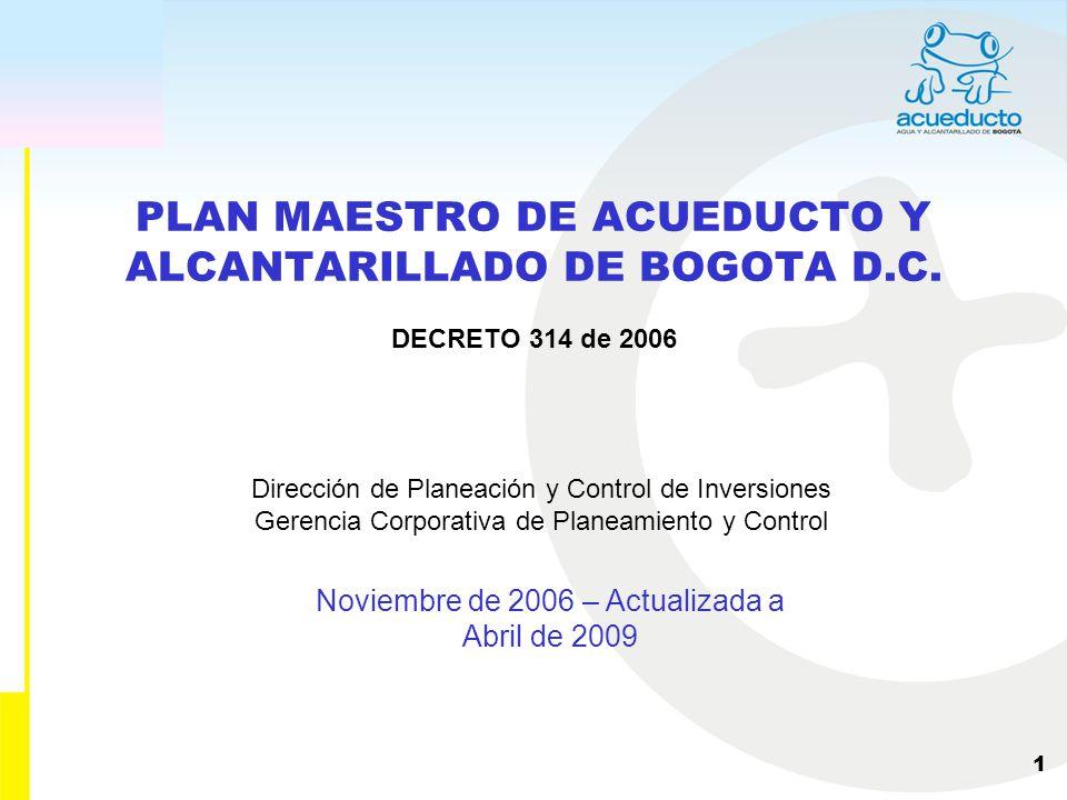 PLAN MAESTRO DE ACUEDUCTO Y ALCANTARILLADO DE BOGOTA D.C.
