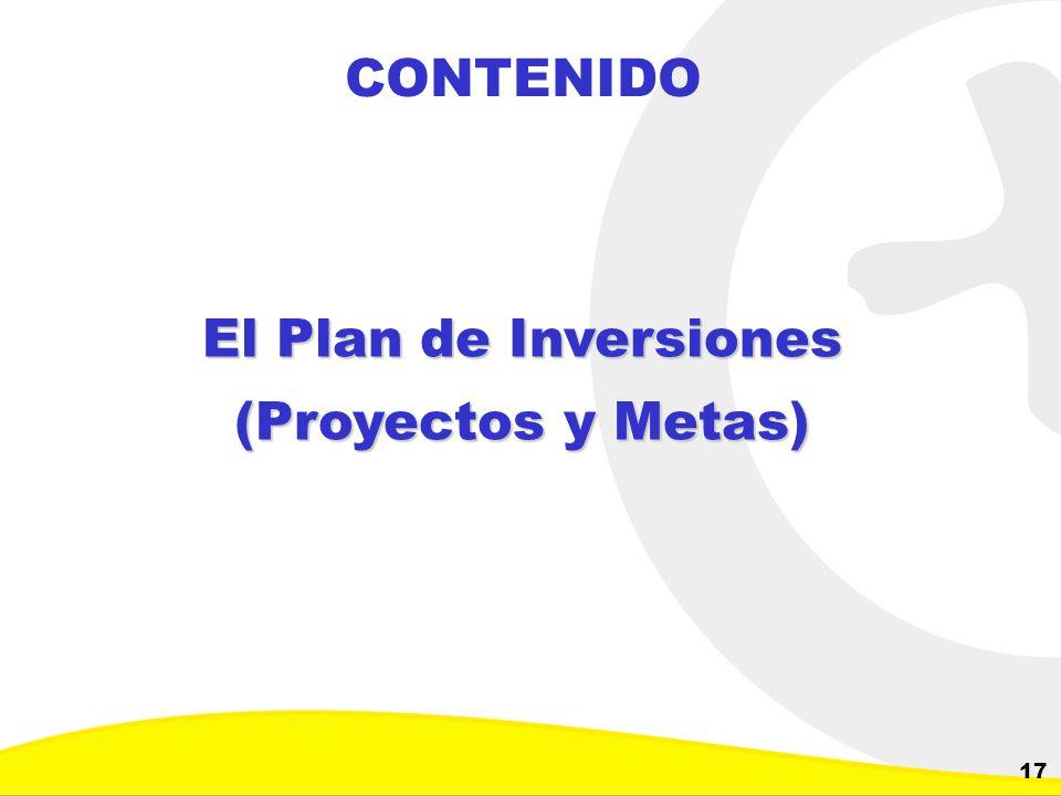 CONTENIDO El Plan de Inversiones (Proyectos y Metas)