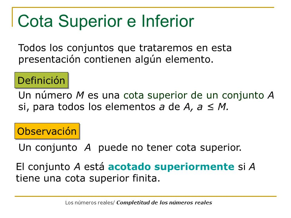 Cota Superior e Inferior