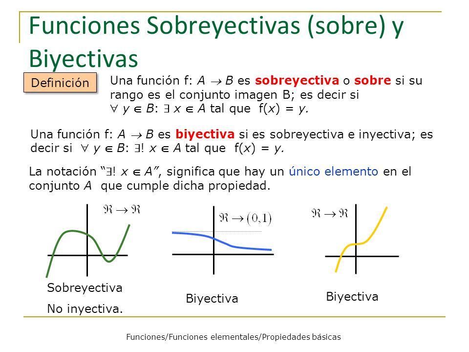 Funciones Sobreyectivas (sobre) y Biyectivas