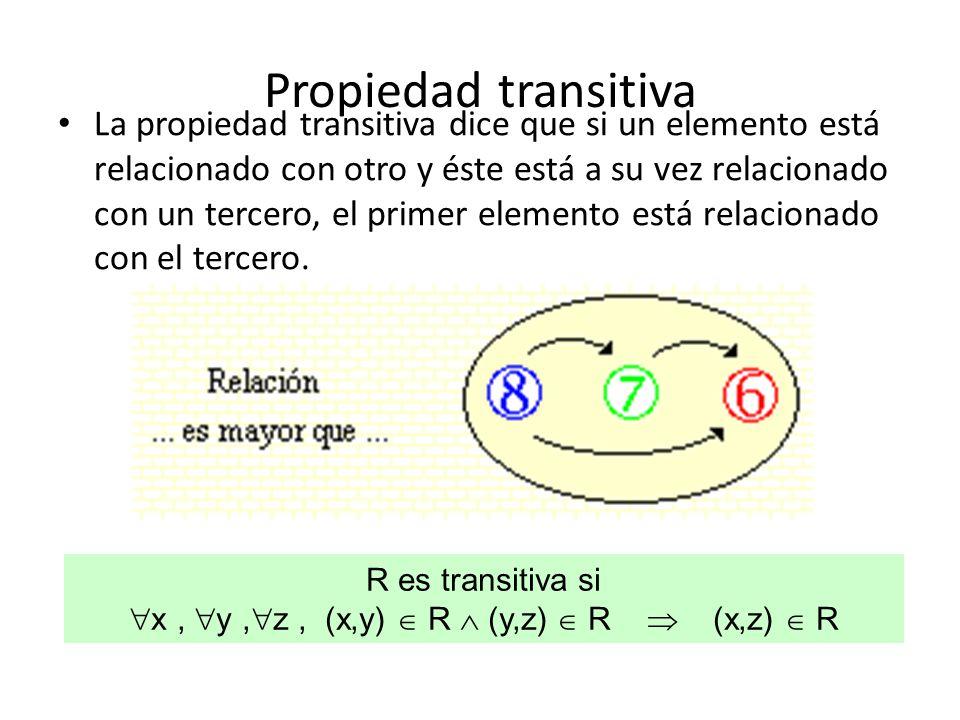 x , y ,z , (x,y)  R  (y,z)  R  (x,z)  R