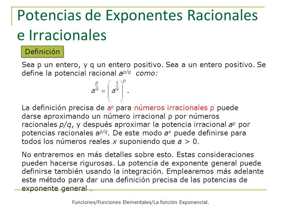 Potencias de Exponentes Racionales e Irracionales