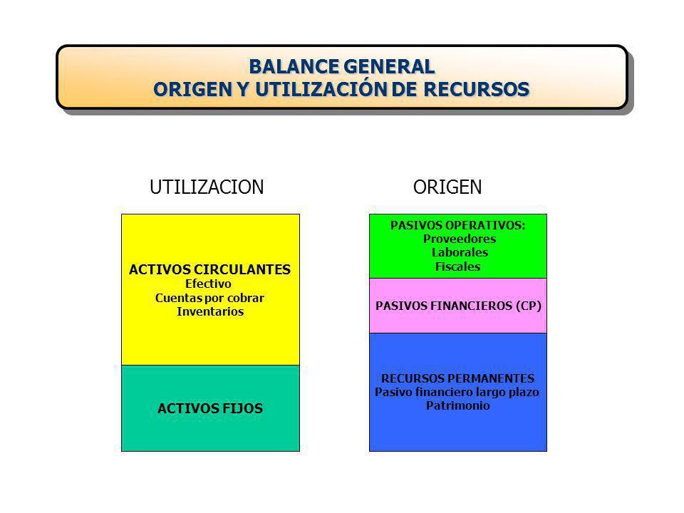 BALANCE GENERAL ORIGEN Y UTILIZACIÓN DE RECURSOS