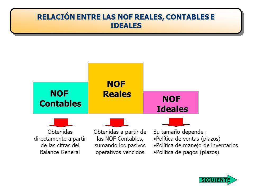 RELACIÓN ENTRE LAS NOF REALES, CONTABLES E IDEALES
