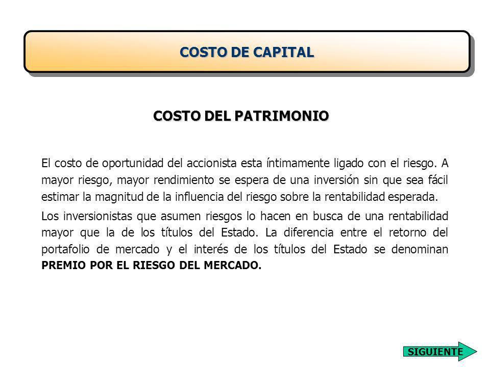 COSTO DE CAPITAL COSTO DEL PATRIMONIO