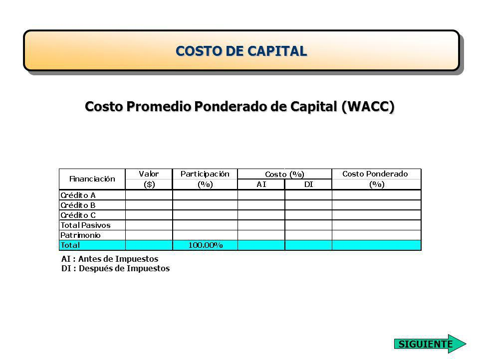 Costo Promedio Ponderado de Capital (WACC)