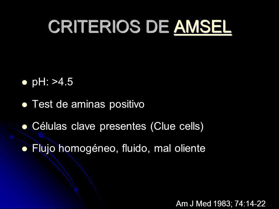 CRITERIOS DE AMSEL pH: >4.5 Test de aminas positivo