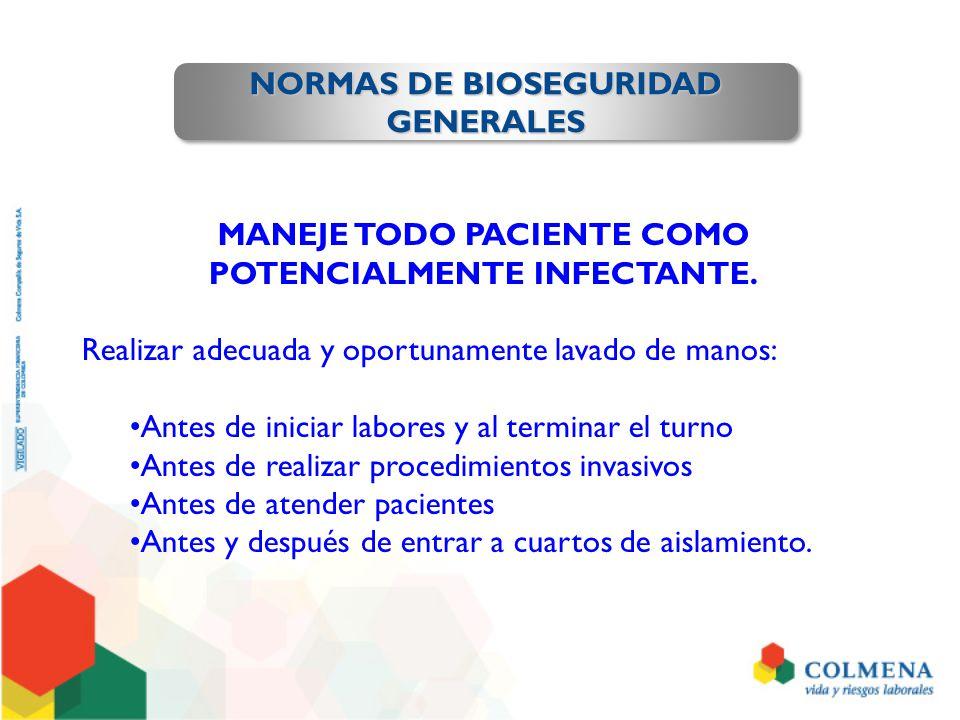 NORMAS DE BIOSEGURIDAD GENERALES