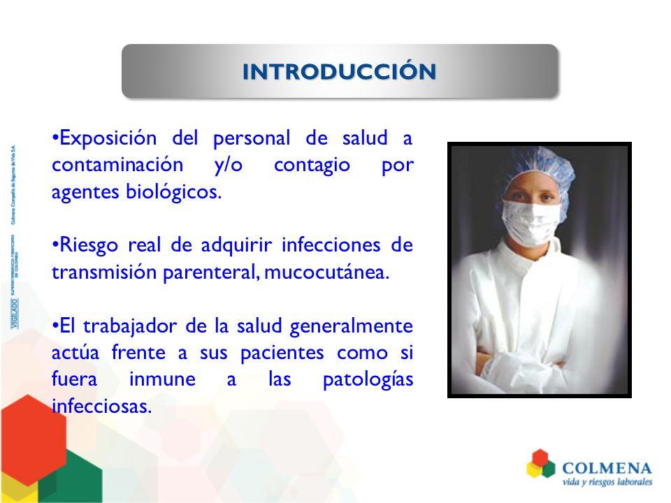 INTRODUCCIÓN Exposición del personal de salud a contaminación y/o contagio por agentes biológicos.