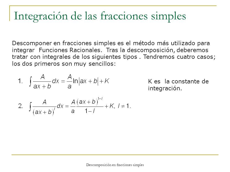 Integración de las fracciones simples