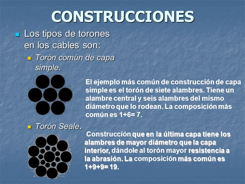 CONSTRUCCIONES Los tipos de torones en los cables son: