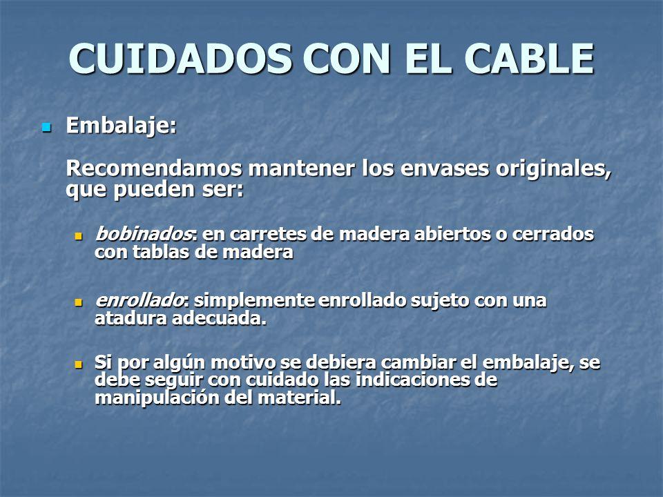 CUIDADOS CON EL CABLE Embalaje: Recomendamos mantener los envases originales, que pueden ser: