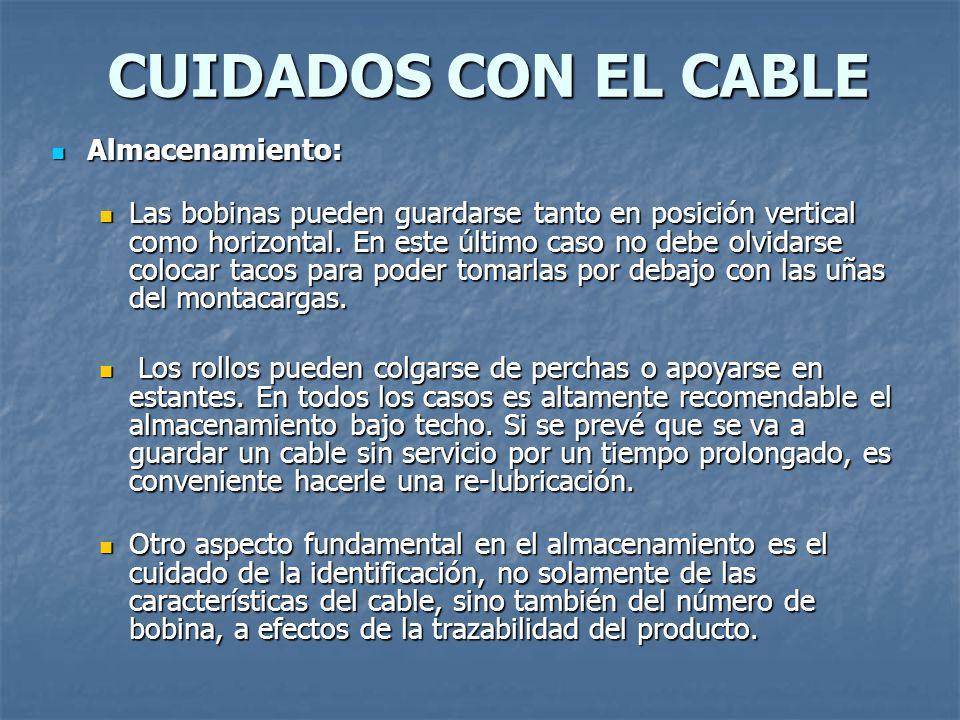 CUIDADOS CON EL CABLE Almacenamiento: