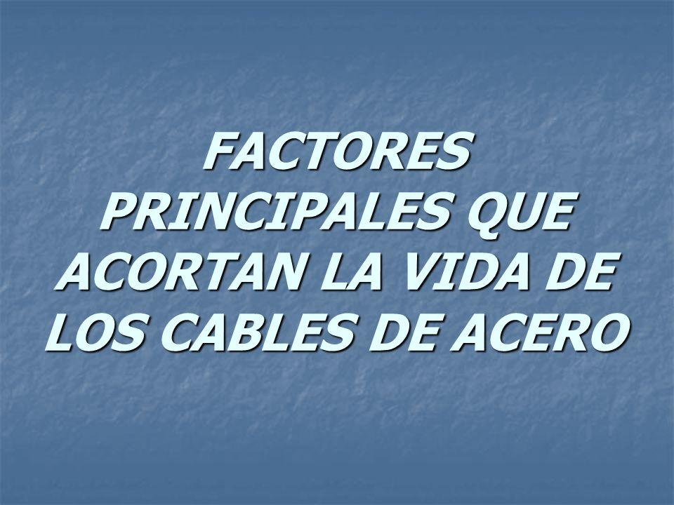 FACTORES PRINCIPALES QUE ACORTAN LA VIDA DE LOS CABLES DE ACERO