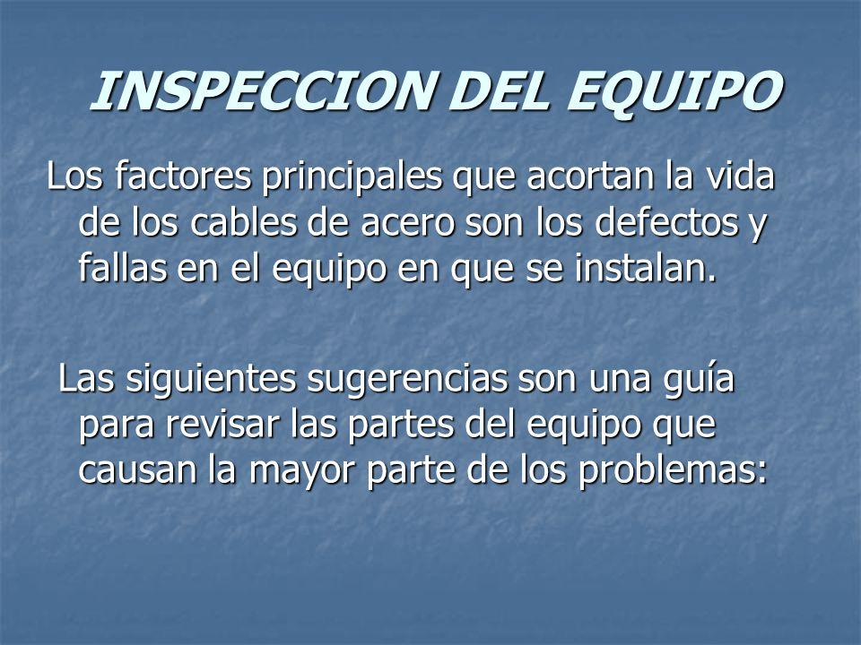 INSPECCION DEL EQUIPO Los factores principales que acortan la vida de los cables de acero son los defectos y fallas en el equipo en que se instalan.