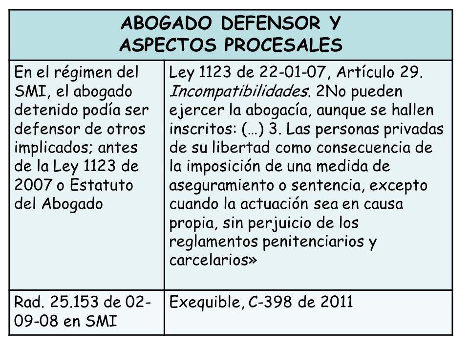 ABOGADO DEFENSOR Y ASPECTOS PROCESALES