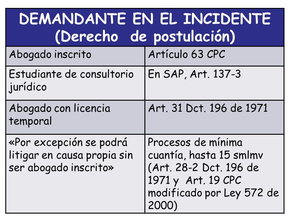 DEMANDANTE EN EL INCIDENTE (Derecho de postulación)