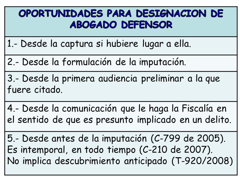 OPORTUNIDADES PARA DESIGNACION DE ABOGADO DEFENSOR