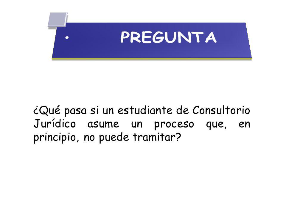 PREGUNTA ¿Qué pasa si un estudiante de Consultorio Jurídico asume un proceso que, en principio, no puede tramitar