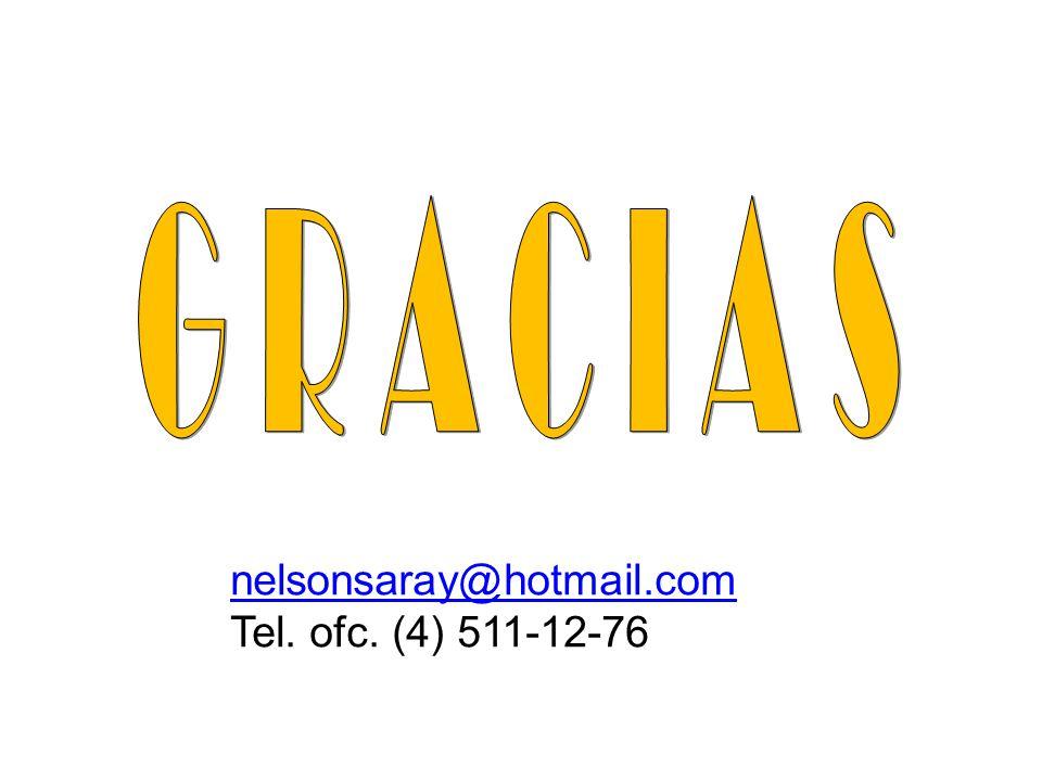 G R A C I A S nelsonsaray@hotmail.com Tel. ofc. (4) 511-12-76