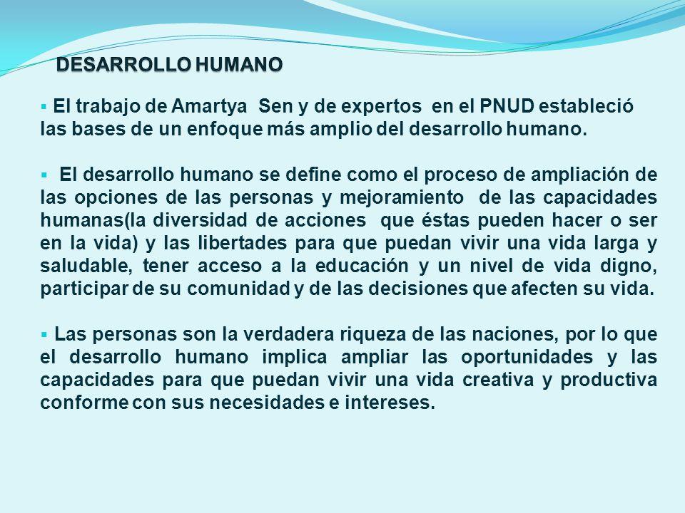 DESARROLLO HUMANO El trabajo de Amartya Sen y de expertos en el PNUD estableció las bases de un enfoque más amplio del desarrollo humano.