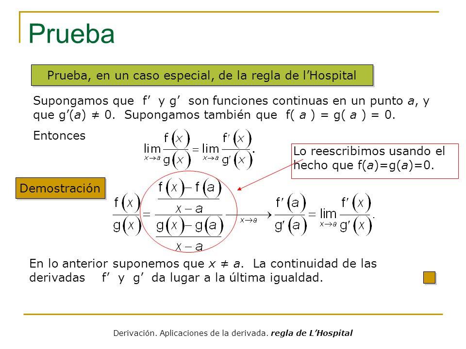 Prueba Prueba, en un caso especial, de la regla de l'Hospital