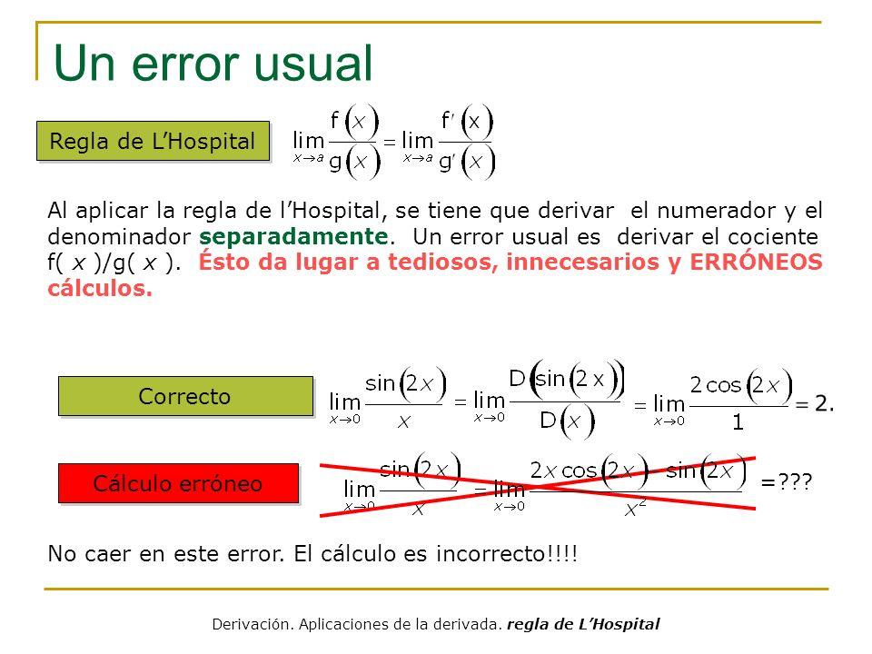 Derivación. Aplicaciones de la derivada. regla de L'Hospital