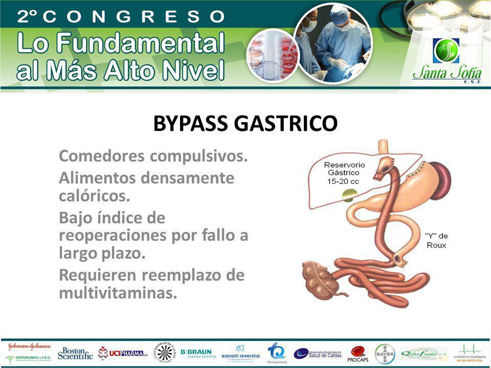 BYPASS GASTRICO Comedores compulsivos. Alimentos densamente calóricos.