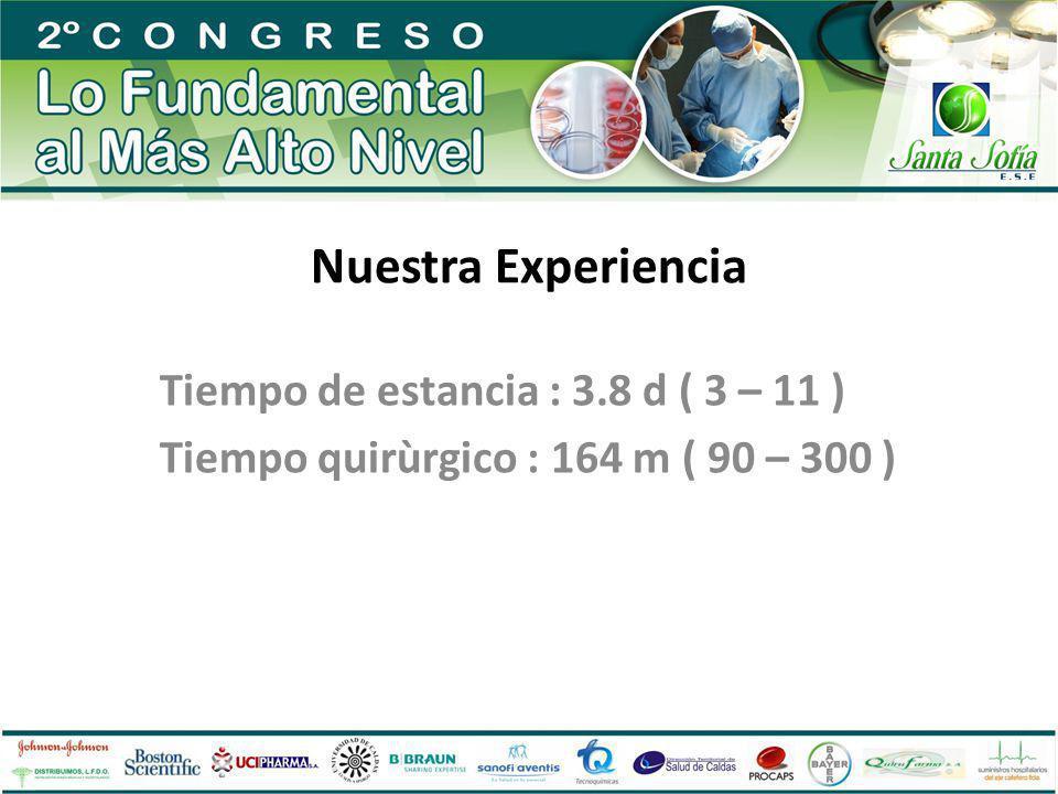 Nuestra Experiencia Tiempo de estancia : 3.8 d ( 3 – 11 )