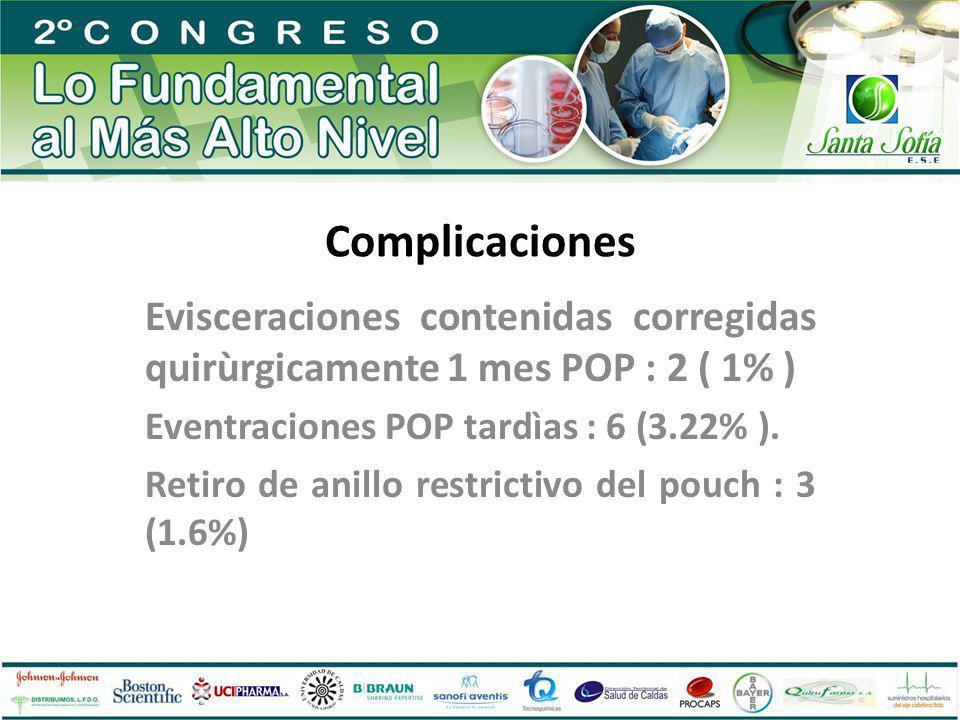 Complicaciones Evisceraciones contenidas corregidas quirùrgicamente 1 mes POP : 2 ( 1% ) Eventraciones POP tardìas : 6 (3.22% ).