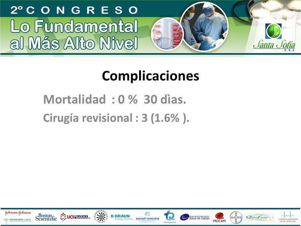 Mortalidad : 0 % 30 dìas. Cirugía revisional : 3 (1.6% ).