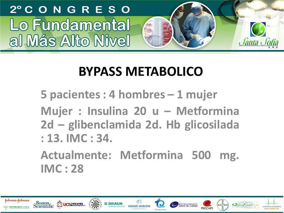 BYPASS METABOLICO 5 pacientes : 4 hombres – 1 mujer