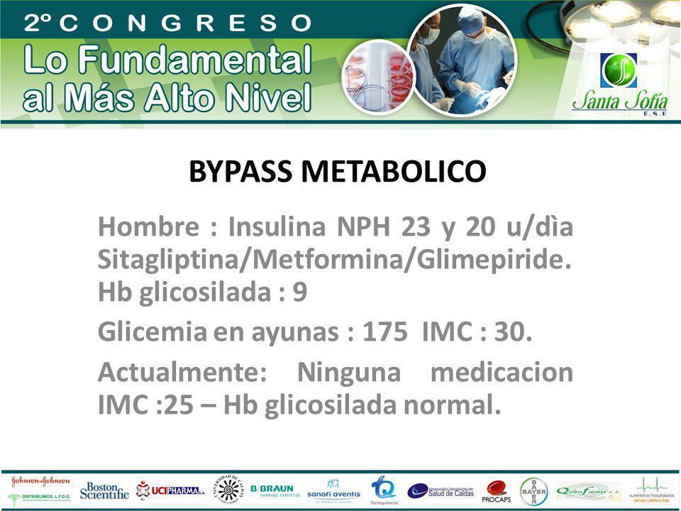 BYPASS METABOLICO Hombre : Insulina NPH 23 y 20 u/dìa Sitagliptina/Metformina/Glimepiride. Hb glicosilada : 9.