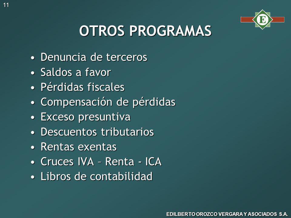 OTROS PROGRAMAS Denuncia de terceros Saldos a favor Pérdidas fiscales