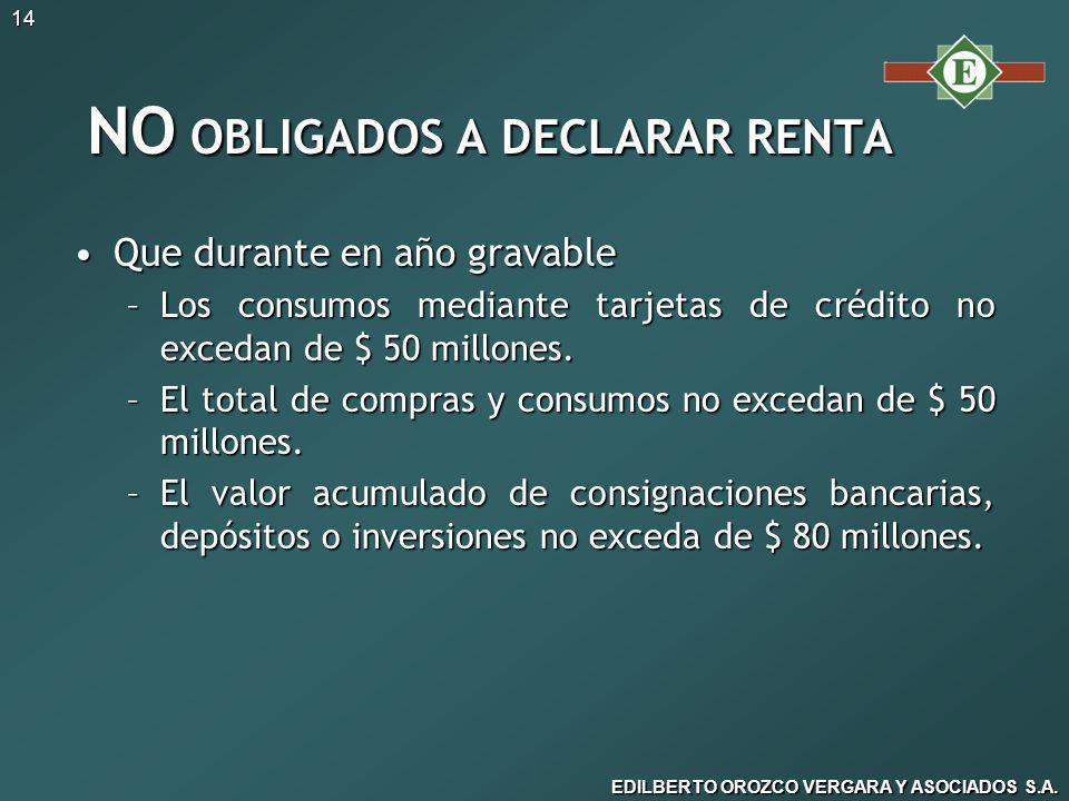 NO OBLIGADOS A DECLARAR RENTA