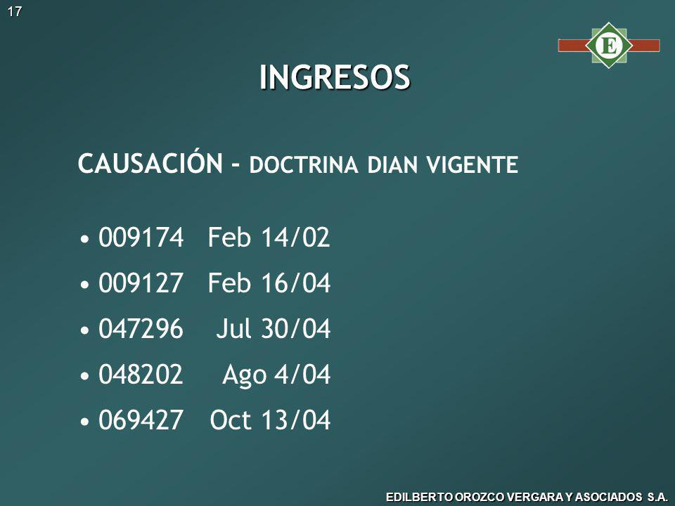 INGRESOS CAUSACIÓN - DOCTRINA DIAN VIGENTE 009174 Feb 14/02