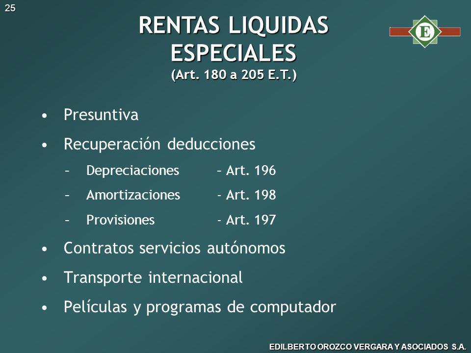 RENTAS LIQUIDAS ESPECIALES