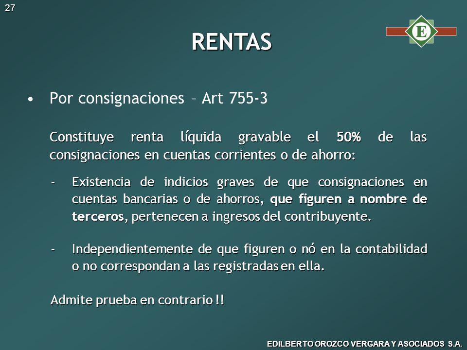 RENTAS Por consignaciones – Art 755-3