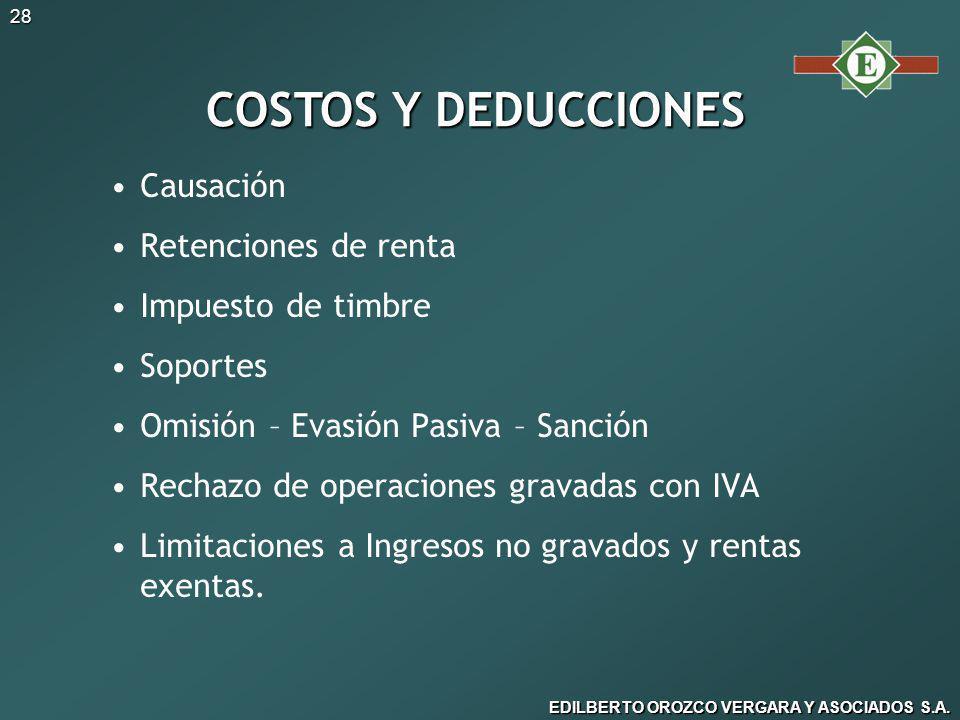 COSTOS Y DEDUCCIONES Causación Retenciones de renta Impuesto de timbre