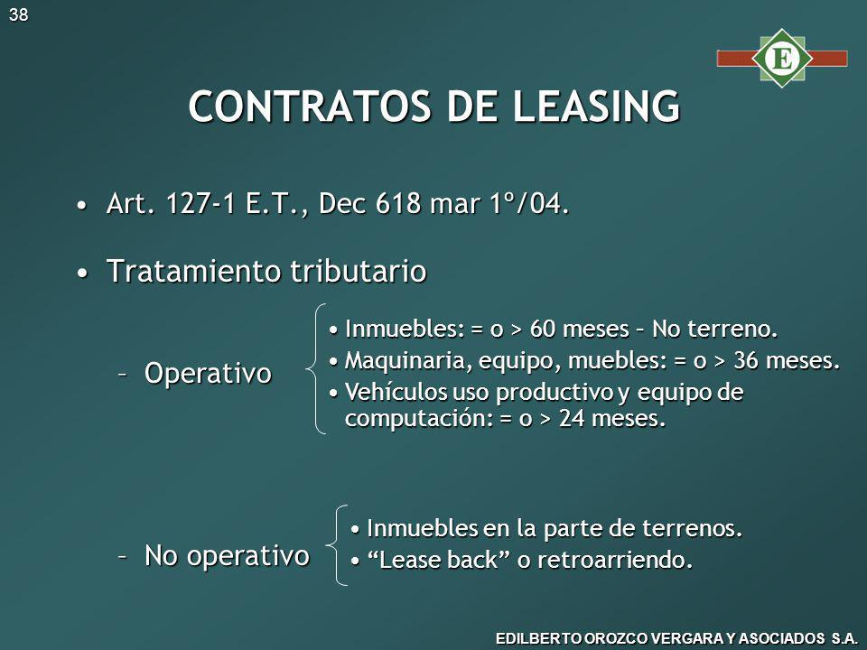 CONTRATOS DE LEASING Tratamiento tributario