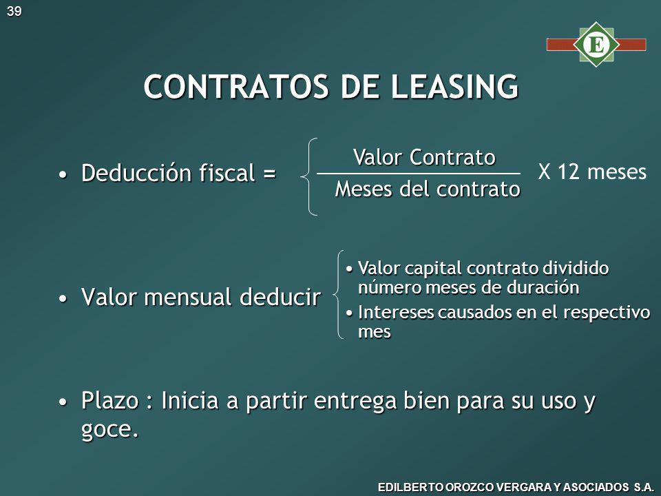 CONTRATOS DE LEASING Deducción fiscal = Valor mensual deducir