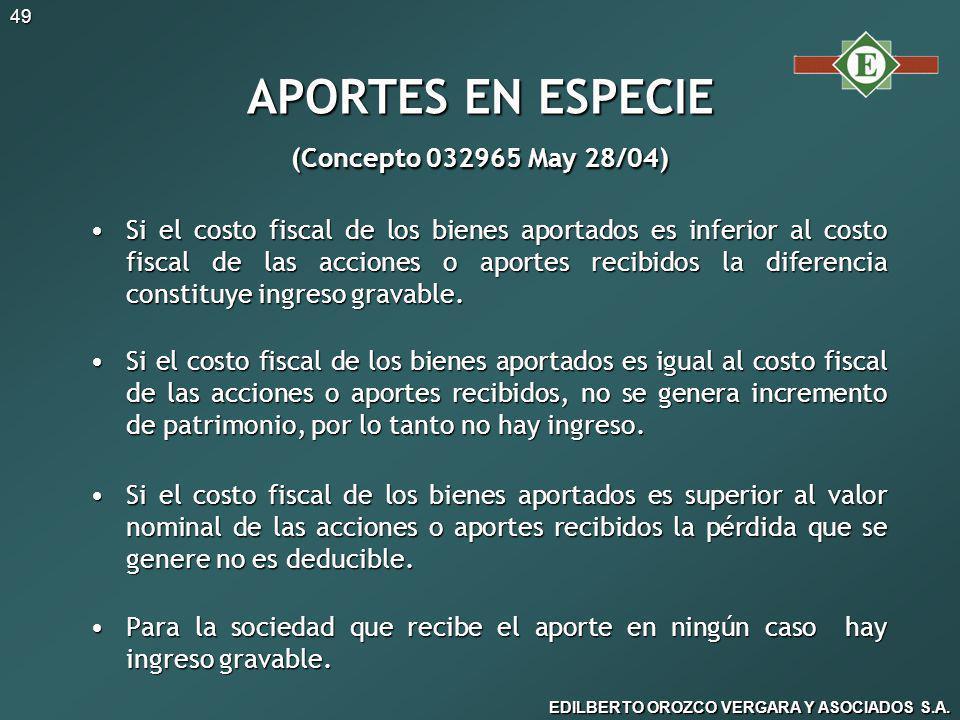 APORTES EN ESPECIE (Concepto 032965 May 28/04)