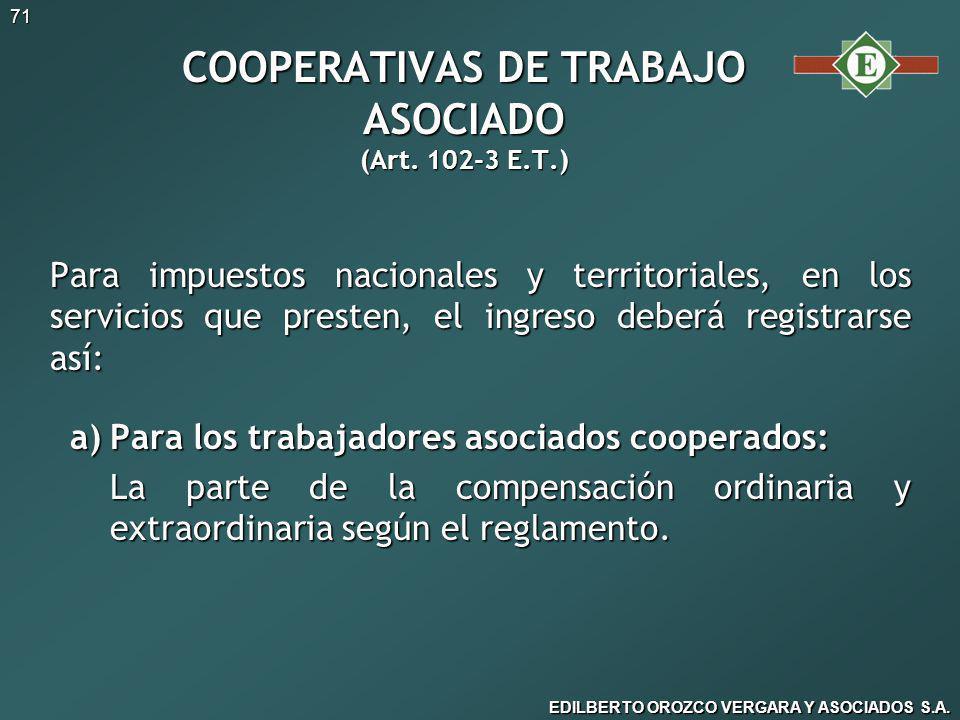 COOPERATIVAS DE TRABAJO ASOCIADO (Art. 102-3 E.T.)