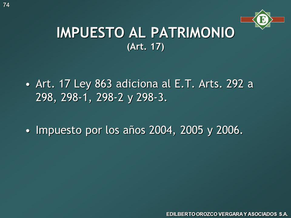 IMPUESTO AL PATRIMONIO (Art. 17)