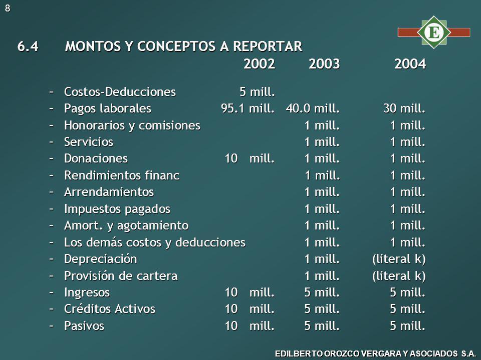 6.4 MONTOS Y CONCEPTOS A REPORTAR