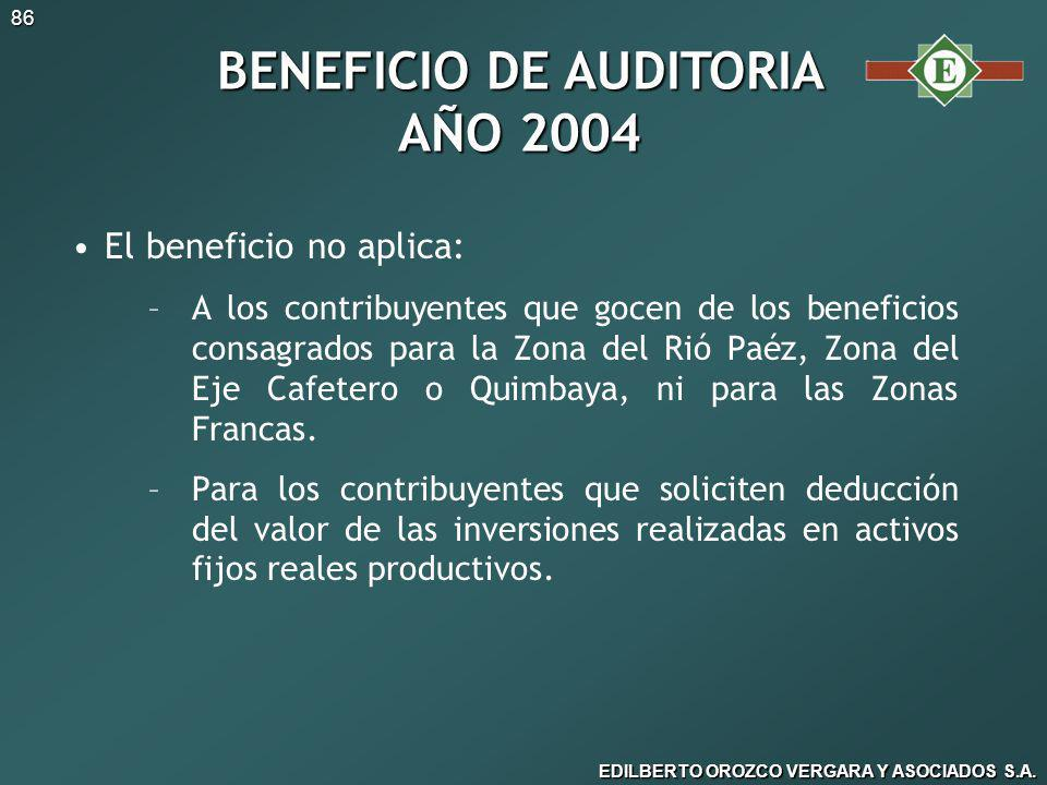 BENEFICIO DE AUDITORIA