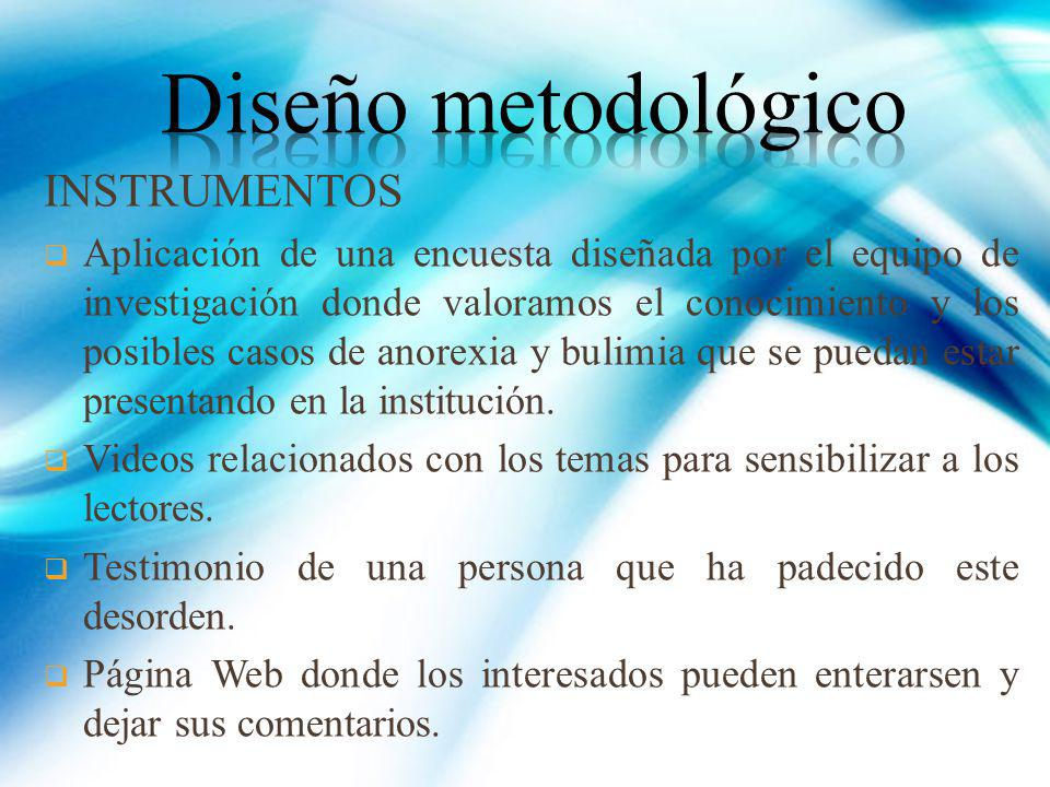 Diseño metodológico INSTRUMENTOS
