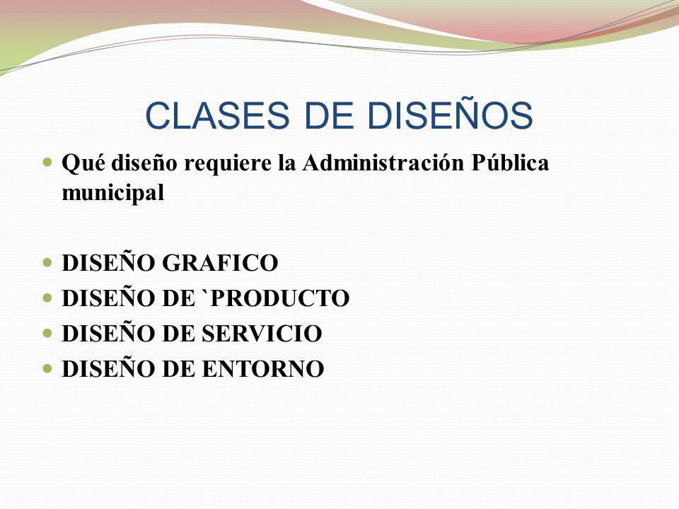 CLASES DE DISEÑOS Qué diseño requiere la Administración Pública municipal. DISEÑO GRAFICO. DISEÑO DE `PRODUCTO.