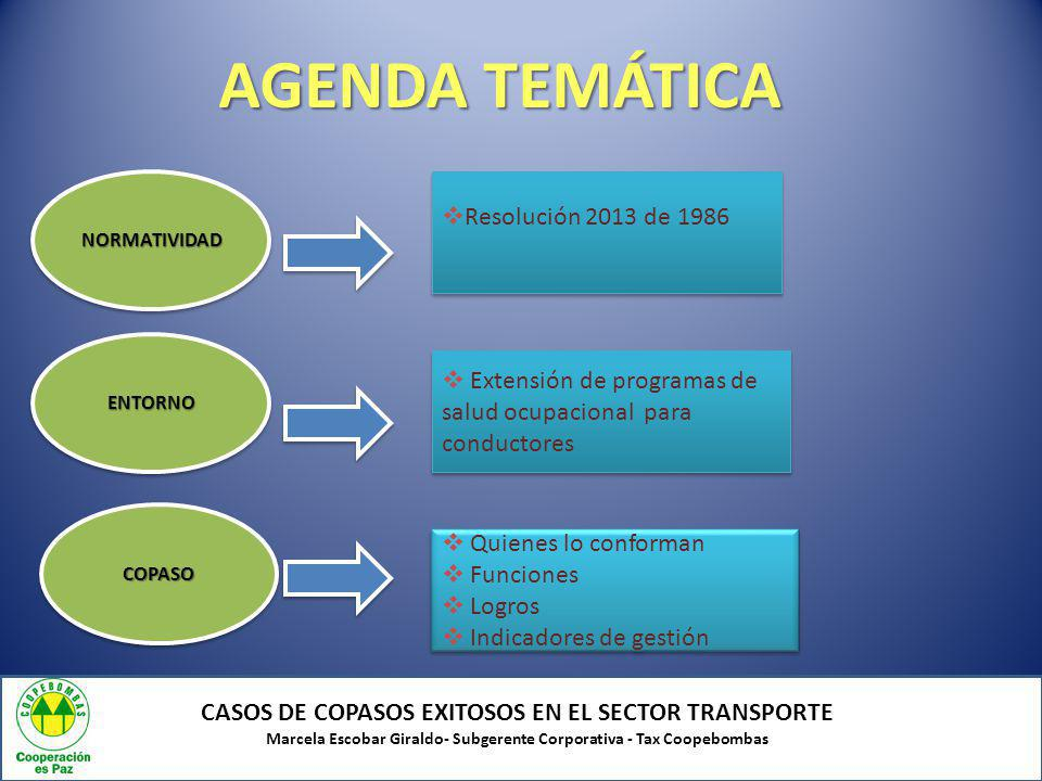 AGENDA TEMÁTICA Resolución 2013 de 1986