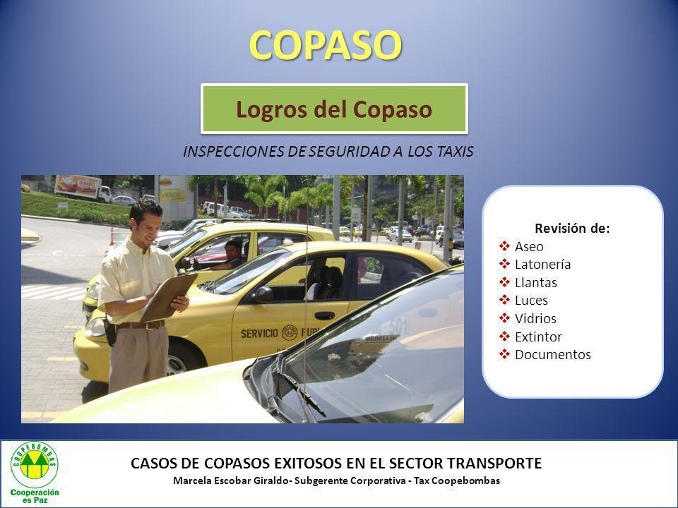 COPASO Logros del Copaso INSPECCIONES DE SEGURIDAD A LOS TAXIS Antes